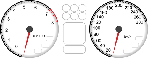 500x198 Vector Drawing Of Car Dashboard Tachometer And Speedometer
