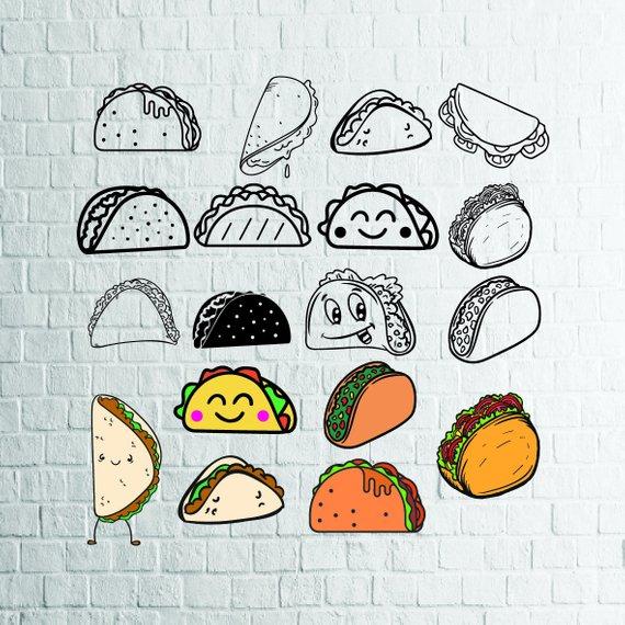 570x570 Buy 3 Get 1 Free...18 Taco Svg Bundle Taco Vector Mexican Etsy