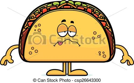 450x280 Sick Cartoon Taco. A Cartoon Illustration Of A Taco Looking Sick.
