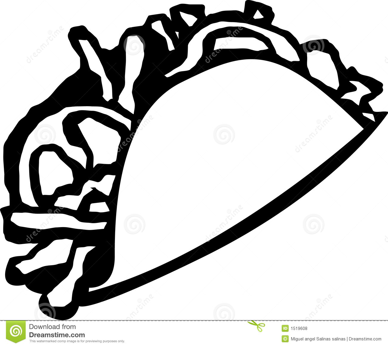 1300x1163 Taco Black And White Clipart