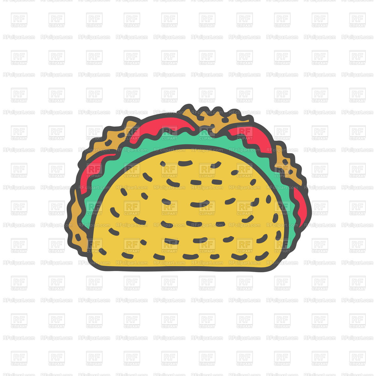1200x1200 Taco Drawing Cartoon Style Isolated Vector Image Vector Artwork