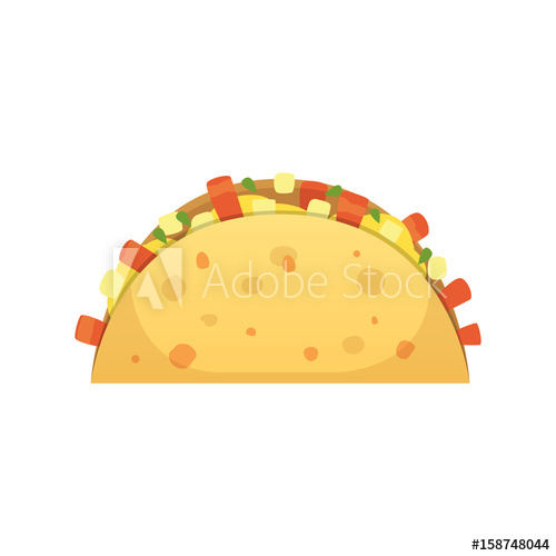 500x500 Taco Vector Illustration In Flat Style. Taco Mexican Food