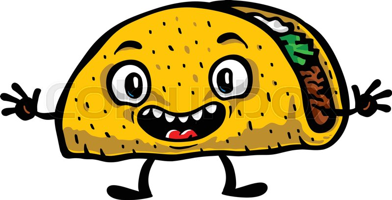 799x407 Cute Funny Cartoon Taco Vector Illustration Stock Vector Colourbox