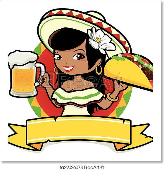561x581 Free Art Print Of Mexican Woman With Beer And Taco. Vector