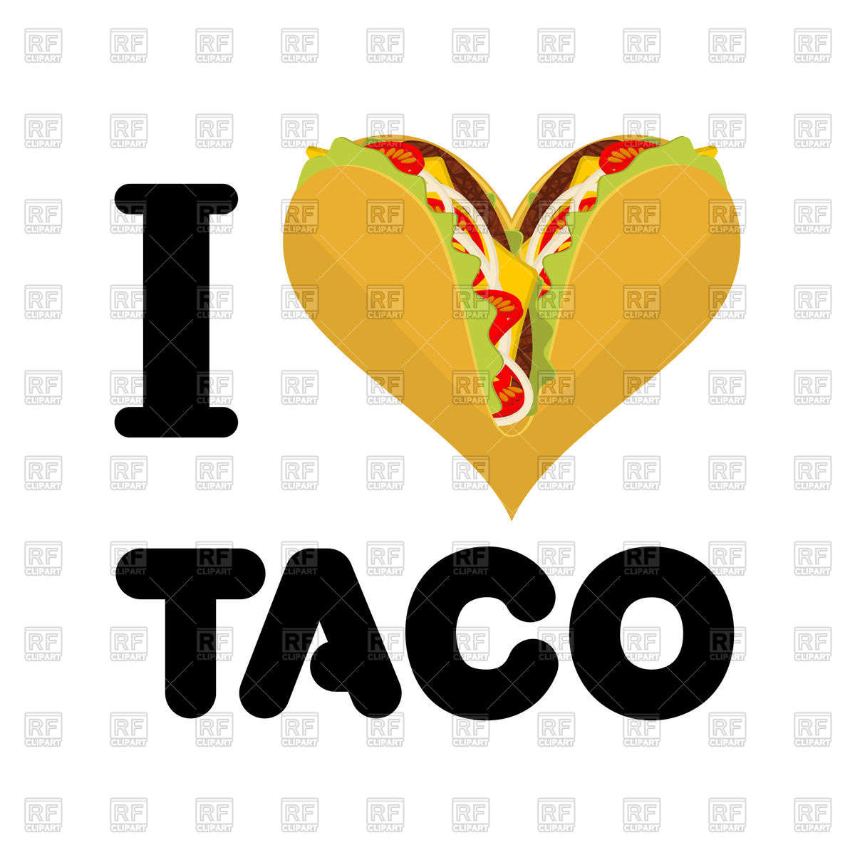 1200x1200 I Love Taco On White Vector Image Vector Artwork Of Conceptual
