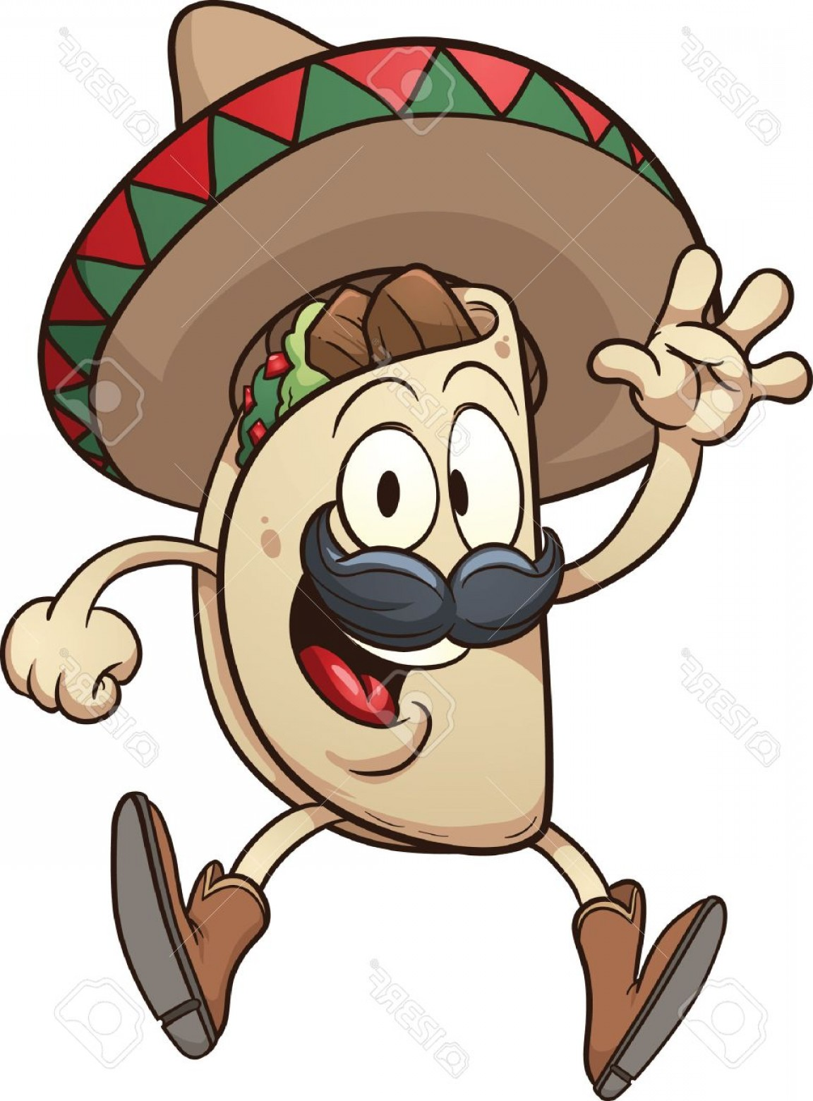 1152x1560 Photostock Vector Cartoon Taco Wearing A Sombrero Vector Clip Art