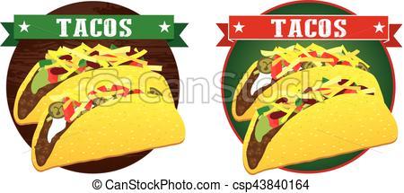 450x215 Mexican Taco Banner Vector. Taco Mexican Food Vector Banner.