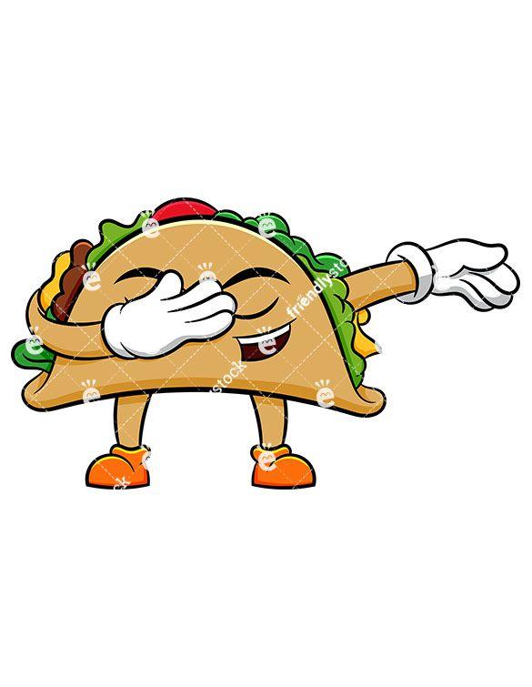585x755 Dabbing Taco Cartoon Vector Clipart Vector Illustrations