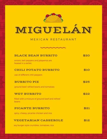 425x550 Illustrated Border Tacos Vector Mexican Menu