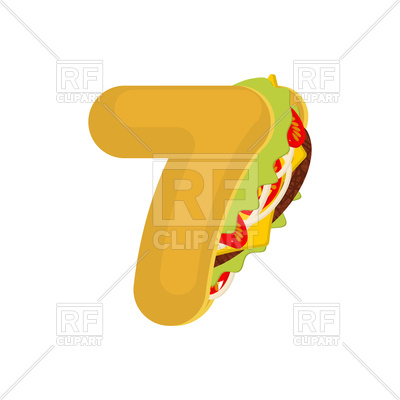 400x400 Number 7 Tacos Font Vector Image Vector Artwork Of Fonts Amp Type