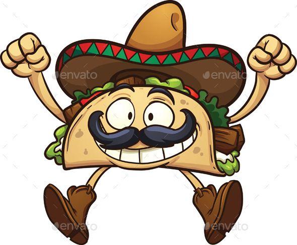 590x487 Cartoon Taco (Cs, Cartoon, Character, Excited, Gradient, Happy