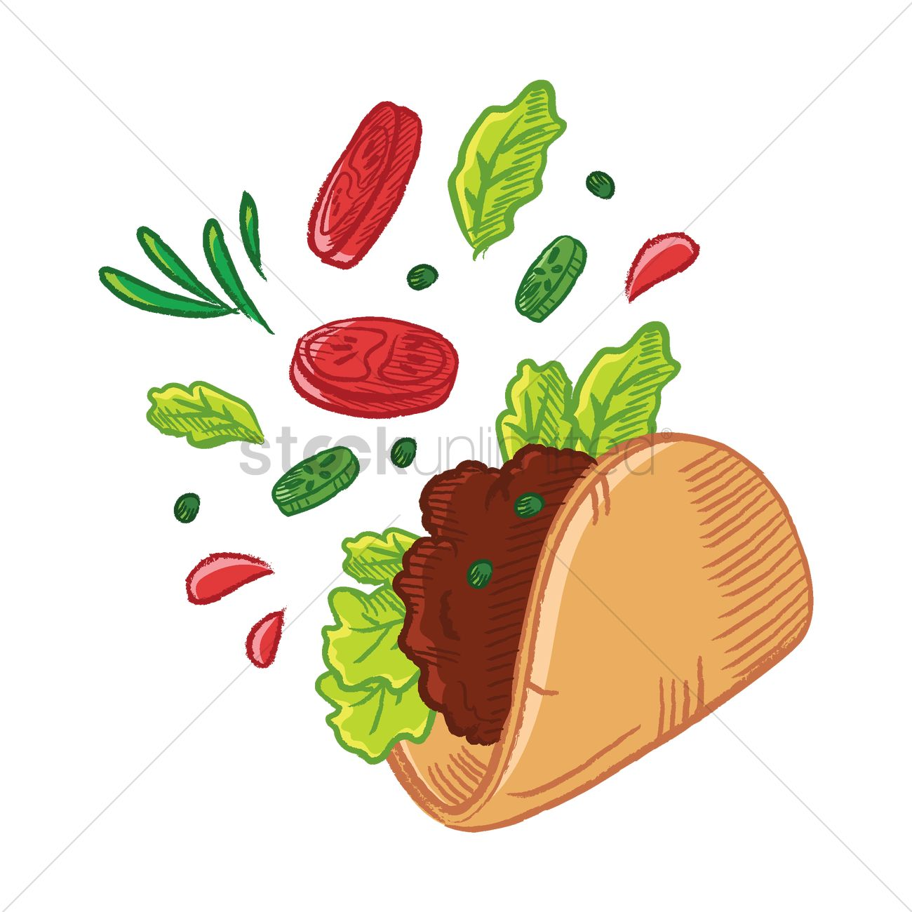 1300x1300 Tossed Tacos Vector Image