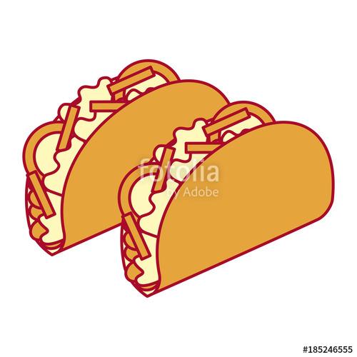 500x500 Delicious Mexican Food Tacos Vector Illustration Design Stock