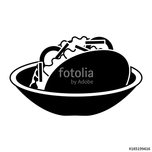 500x500 Dish With Delicious Mexican Food Tacos Vector Illustration Design