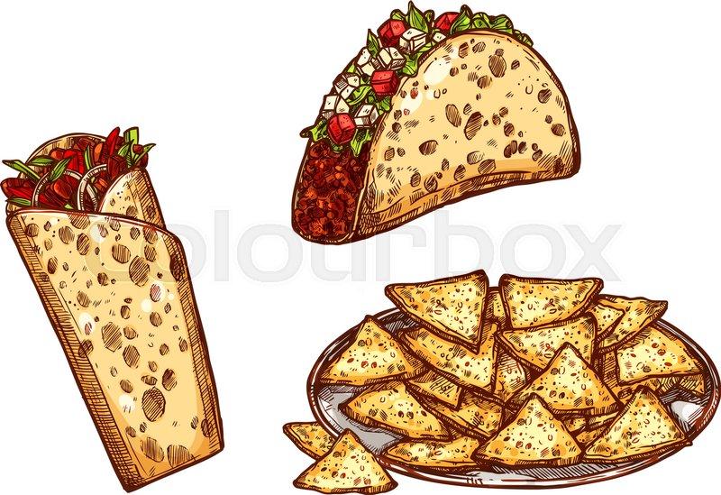 800x549 Fast Food Tacos, Burrito Or Doner Wrap, Nachos Chips. Vector