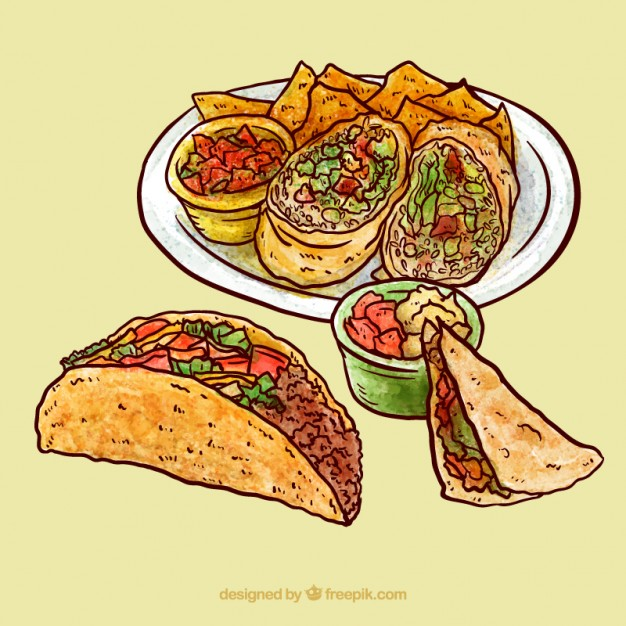 626x626 Hand Drawn Mexican Dishes With Tacos Vector Premium Download