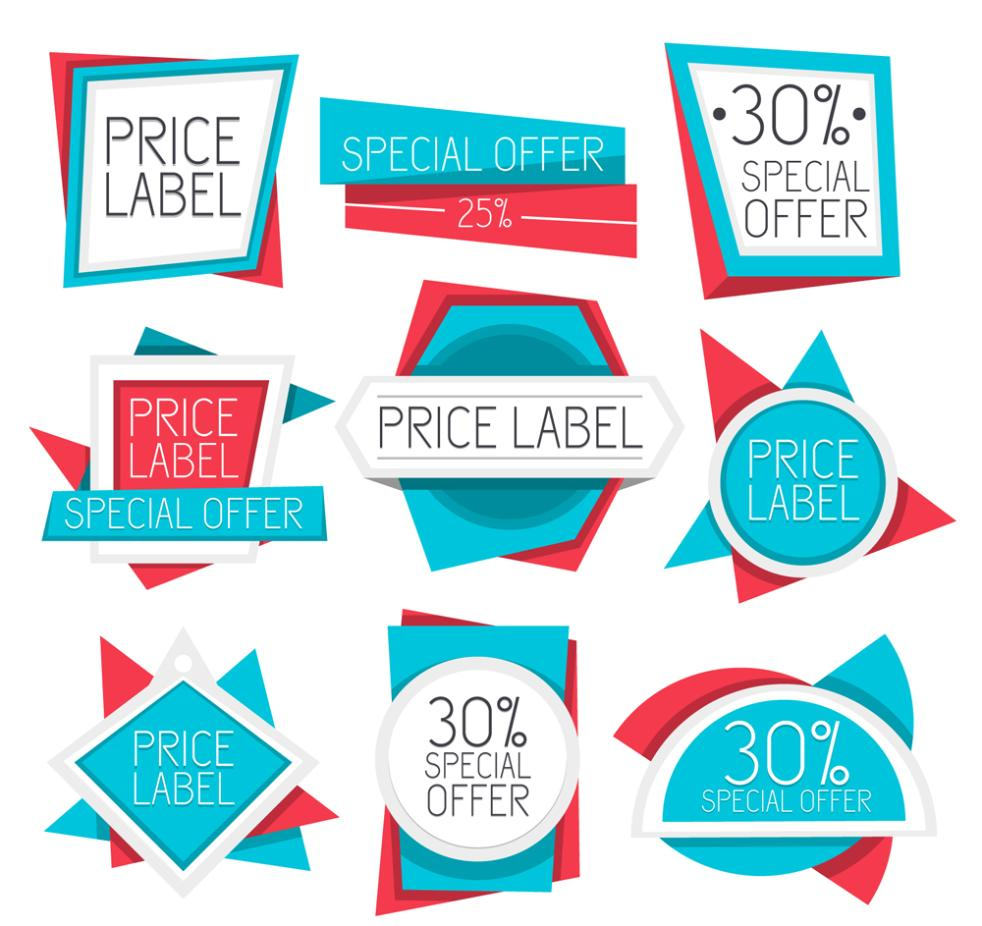 982x926 Nine New Blue Price Tag Vector Free Vector Graphic Download