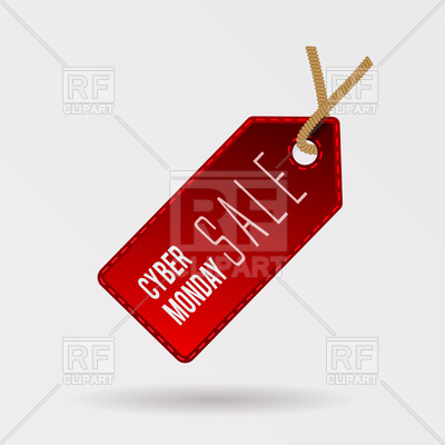 400x400 Cyber Monday Discount, Sale Red Tag Vector Image Vector Artwork
