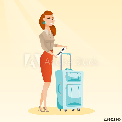 500x500 Happy Business Class Passenger Standing Near Suitcase And Holding