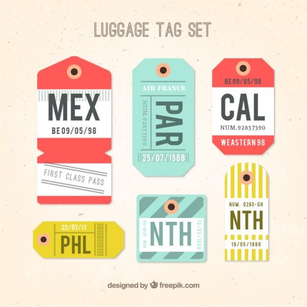 626x626 Luggage Tag Set In Flat Design Vector Premium Download