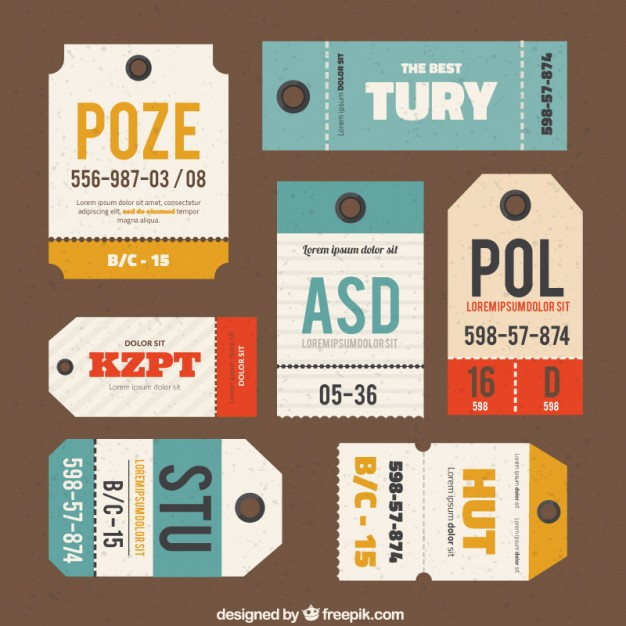 626x626 Luggage Tags Collection Vector Free Download