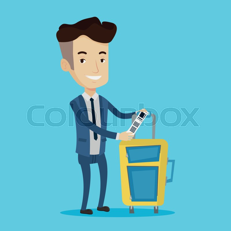 800x800 Man With Suitcase With Travel Insurance Tag. Business Class