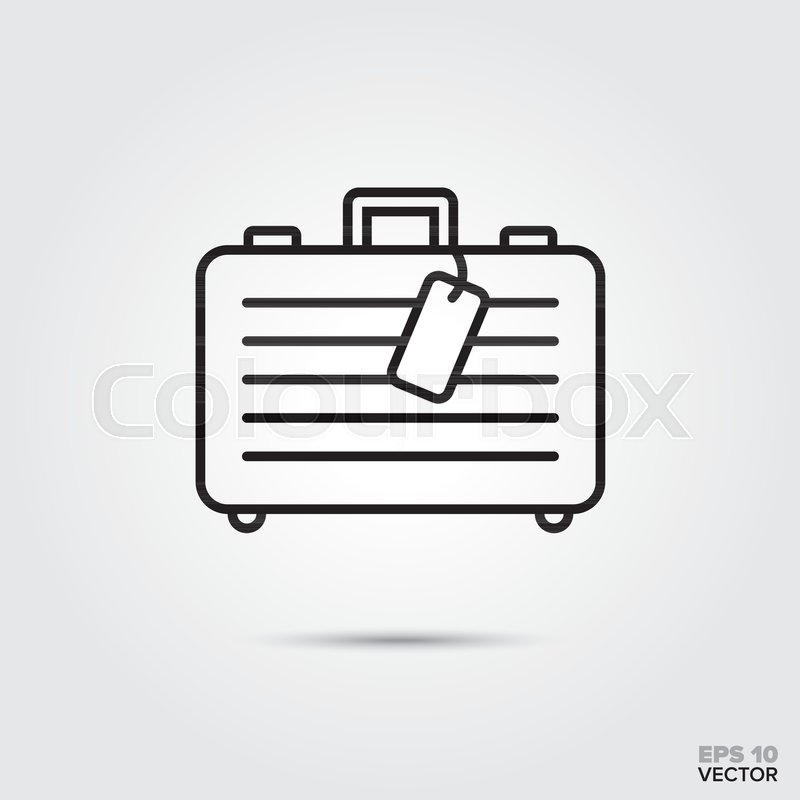 800x800 Suitcase With Luggage Tag Vector Line Icon. Summer Holidays And