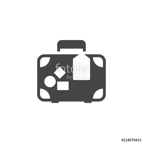 500x500 Travelers Luggage Glyph Icon. Bag For Journey Black Flat Label