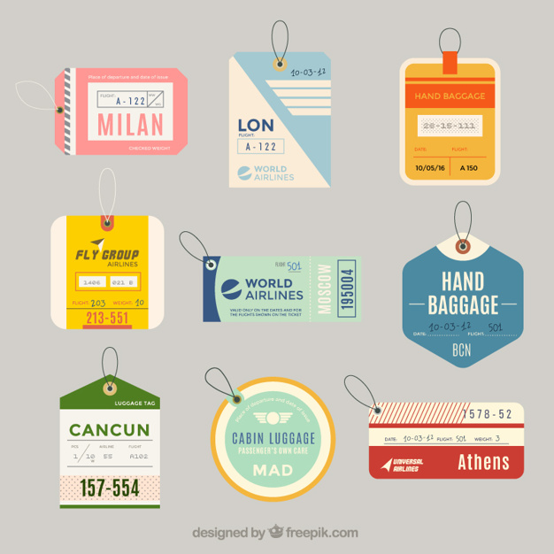 626x626 Variety Of Flat Luggage Tags In Flat Design Vector Free Download