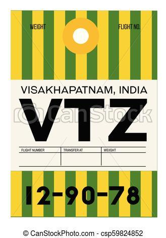 329x470 Visakhapatnam Airport Luggage Tag. Visakhapatnam Realistically