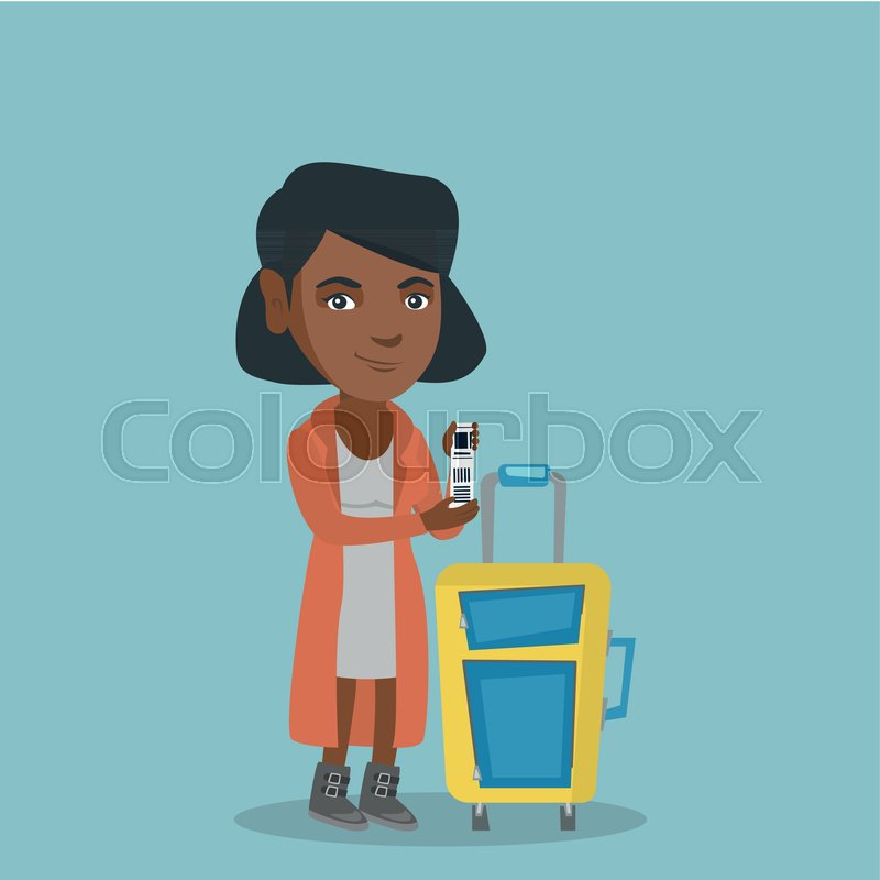 800x800 Young African American Business Woman Showing Travel Insurance Tag