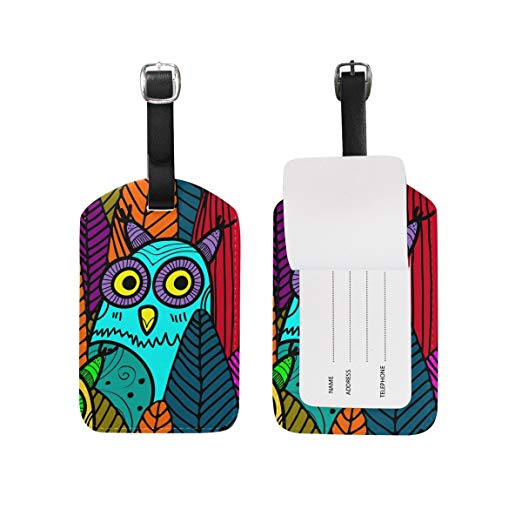 522x522 Travel Luggage Tag Vector Seamless Owls And Leaves Pu