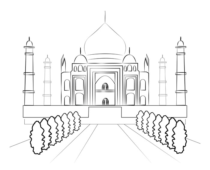 700x566 Taj Mahal Vector Sketch Wall Mural We Live To Change