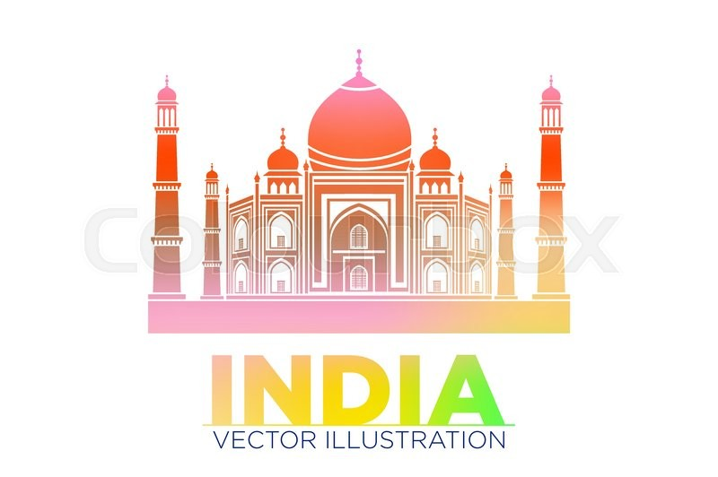 800x532 Taj Mahal Vector Symbol Design Red Color Polygonal Mosaic Style