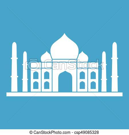 450x470 Taj Mahal Icon White Isolated On Blue Background Vector Illustration.