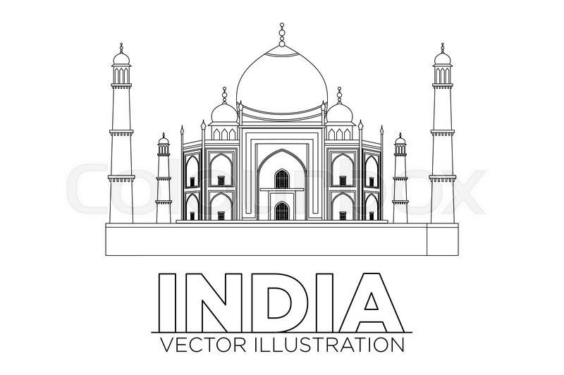 800x532 Taj Mahal Vector Illustration, Symbol In Black Lines Art Stock