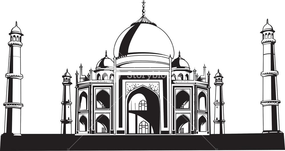 1000x529 Vector Taj Mahal Royalty Free Stock Image