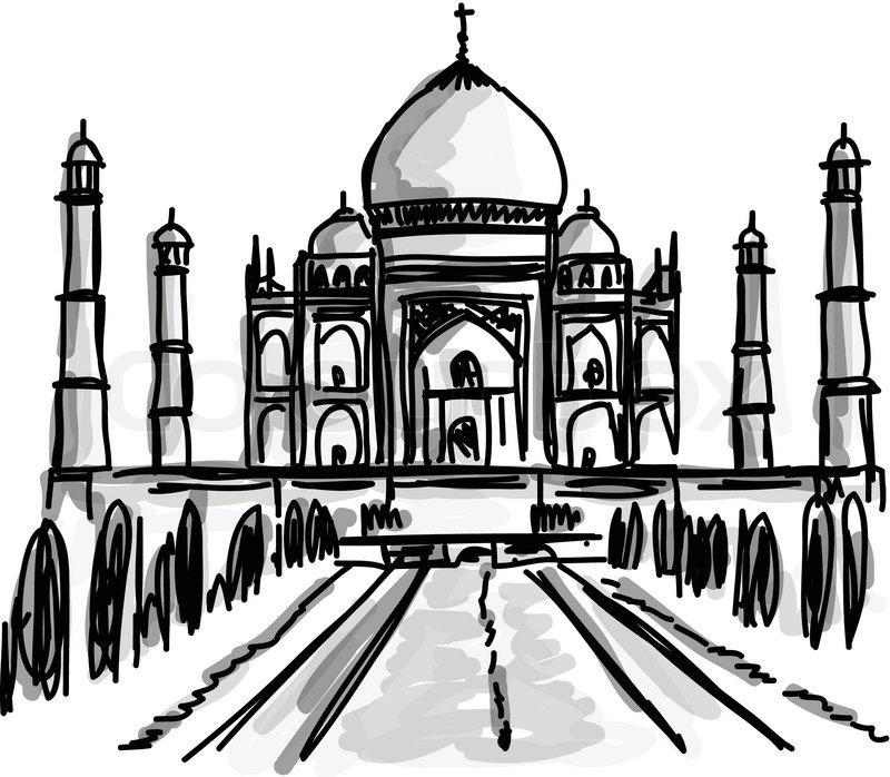 800x698 Vector World Famous Landmark Collection Taj Mahal, Agra, India