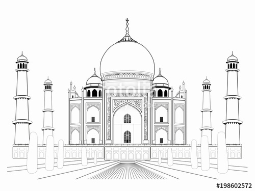 500x375 Illustration Of An Taj Mahal , Vector Draw Stock Image And