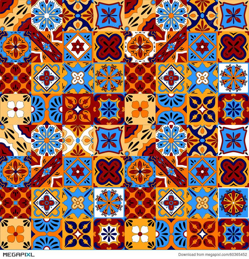 800x830 Mexican Stylized Talavera Tiles Seamless Pattern In Blue Red And