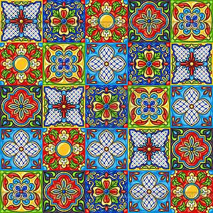 300x300 Mexican Talavera Ceramic Tile Pattern