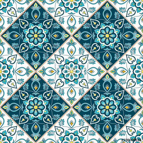 500x500 Mexican Tile Pattern Seamless Vector With Flower Ornaments