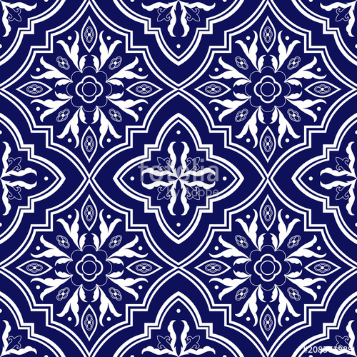 500x500 Mexican Tile Pattern Vector Seamless With Flower Ornaments