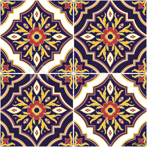 500x500 Mexican Tile Pattern Vector Seamless With Ornaments. Portuguese