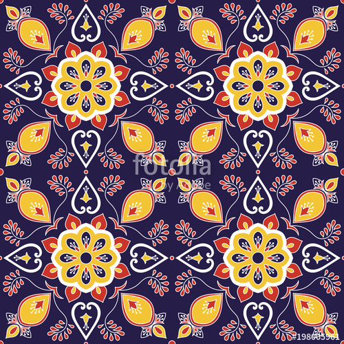500x500 Mexican Tile Pattern Vector With Baroque Floral Ornament