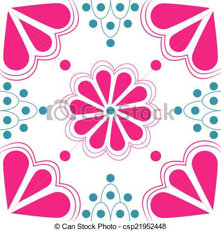 450x470 Pink Amp Blue Stylized Flower Tile. Stylized Duo Tone Pink Amp Blue