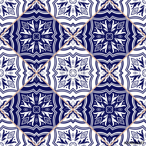 500x500 Portuguese Tile Pattern Vector Seamless With Flower Ornaments