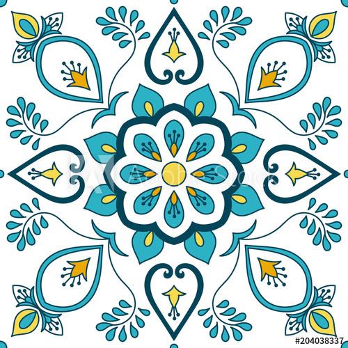 500x500 Portuguese Tile Pattern Vector With Floral Ornaments Motifs