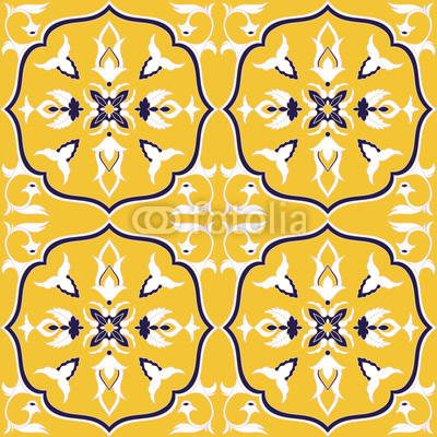 400x400 Spanish Tile Pattern Vector Seamless With Ceramic Ornaments