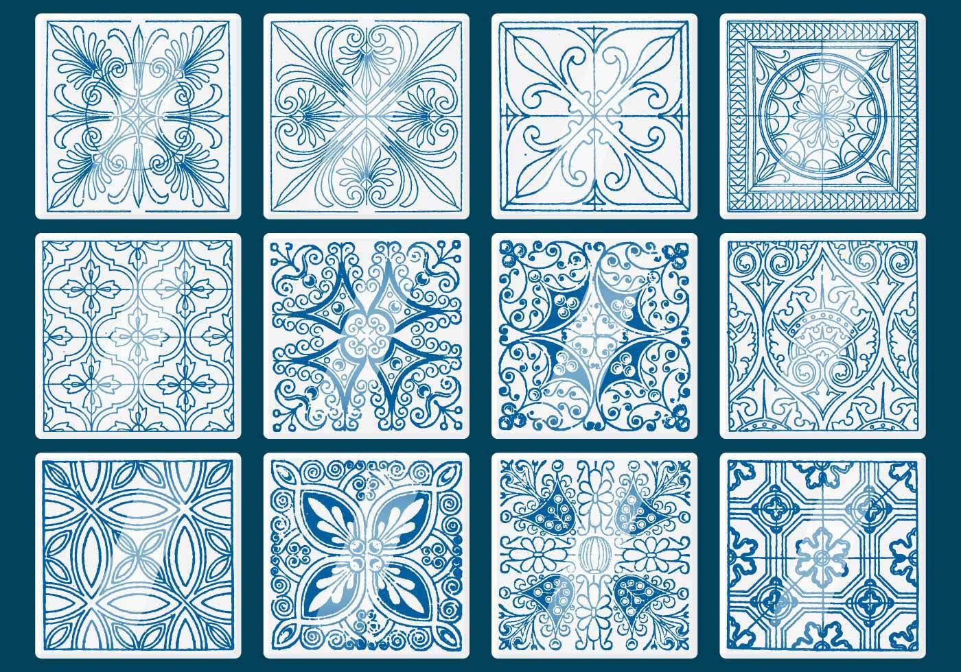 1400x980 Amazing Blue Talavera Tile Vectors Download Free Vector Art Stock